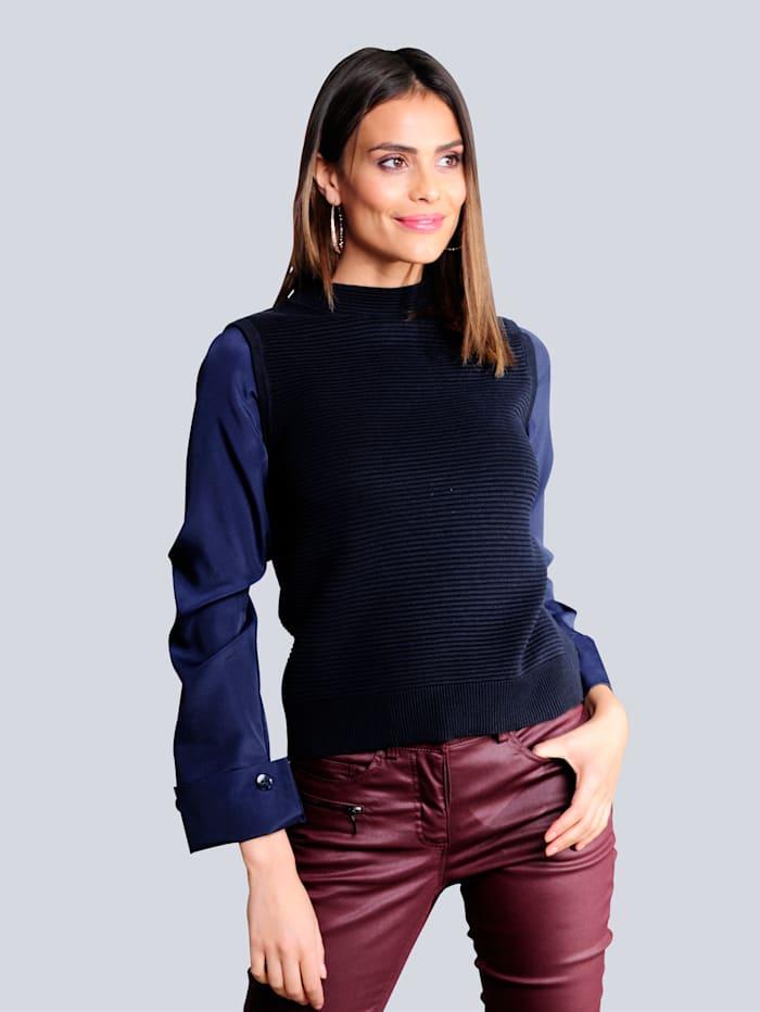 Alba Moda Pullover in 2-in-1 Optik, Marineblau