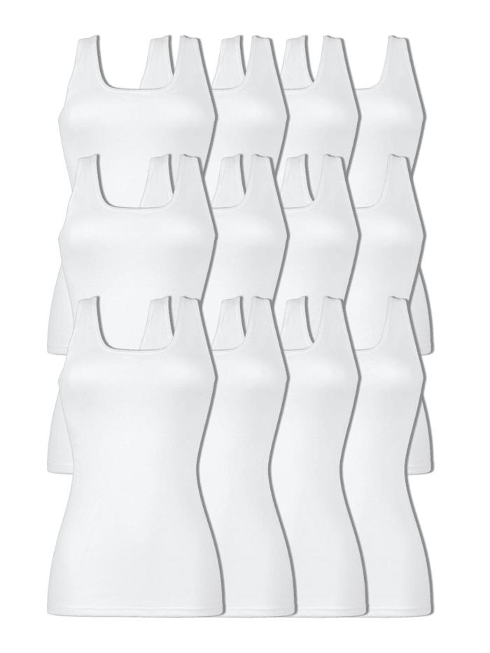Naturana 12er Sparpack Damen Unterhemd, Weiss-Weiss