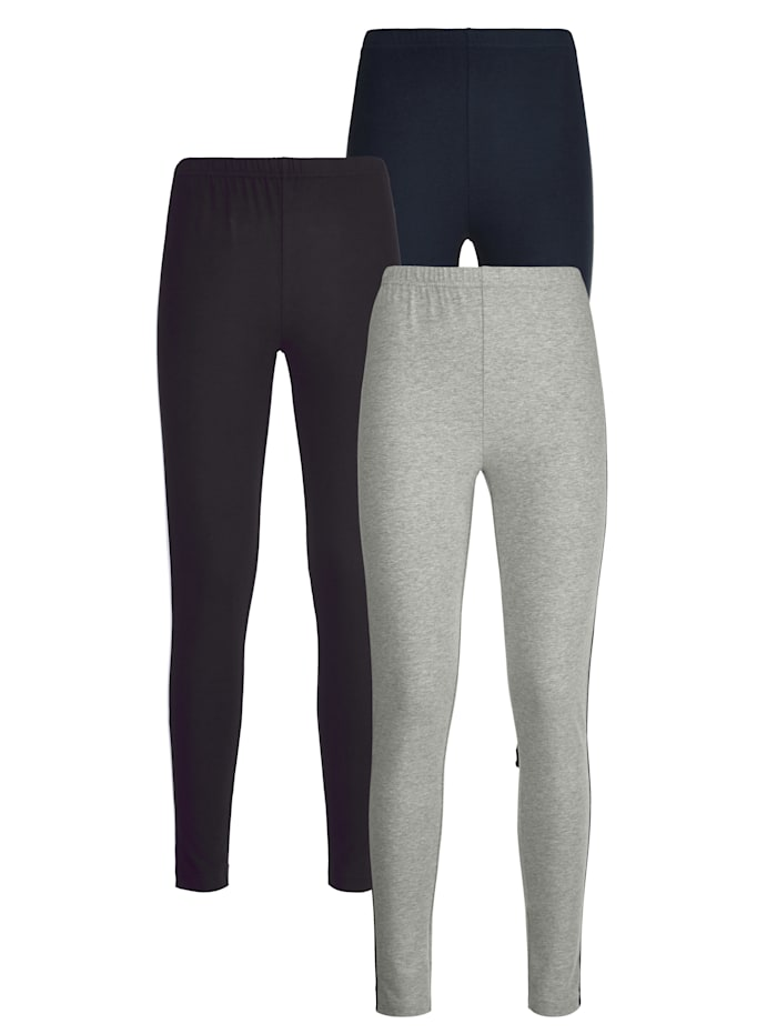 Blue Moon Leggings with chic contrasting piping, Black/Grey