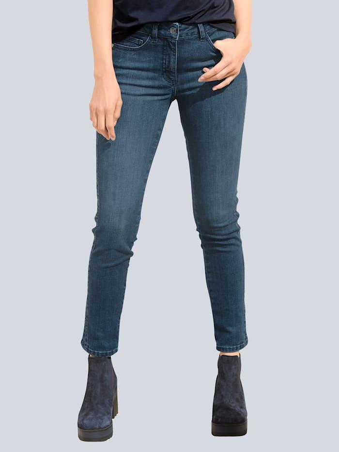 Alba Moda Jeans mit Galonstreifen an der Seitennaht, Blue stone