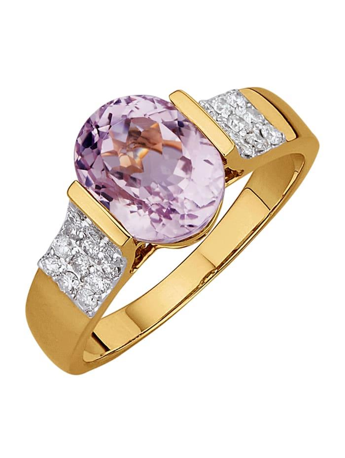 Diemer Farbstein Damenring mit Kunzit und Diamanten, Rosé