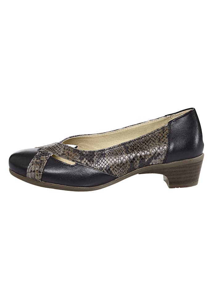 Court shoes with snake print detail