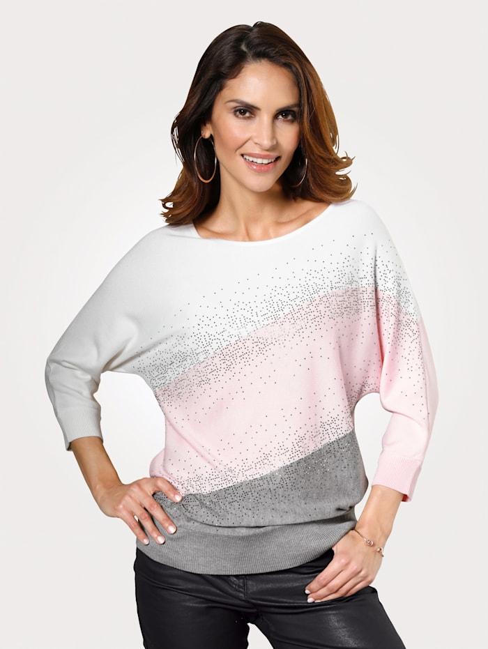 MONA Pullover mit Blockstreifen, Rosé/Grau/Natur