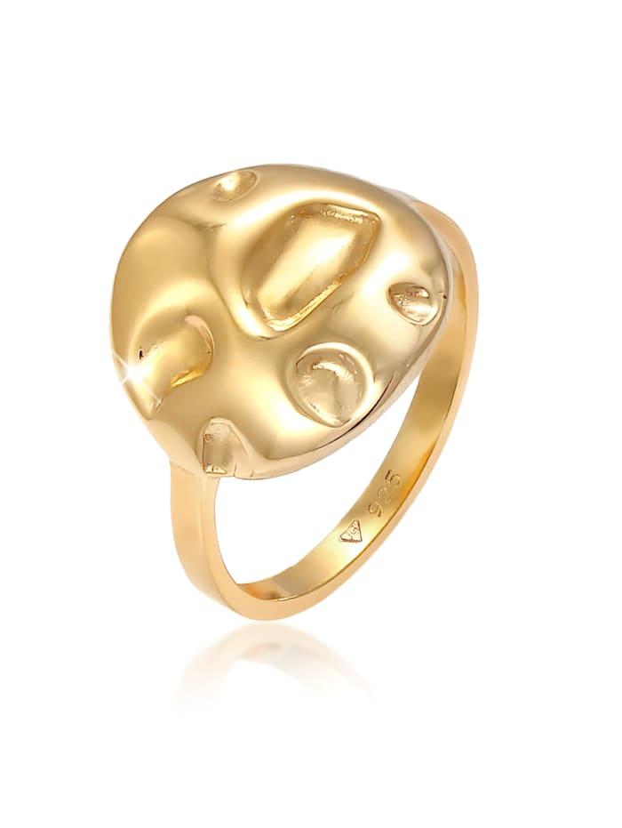 Elli Ring Plättchen Coin Rund Struktur Geo 925 Silber, Gold