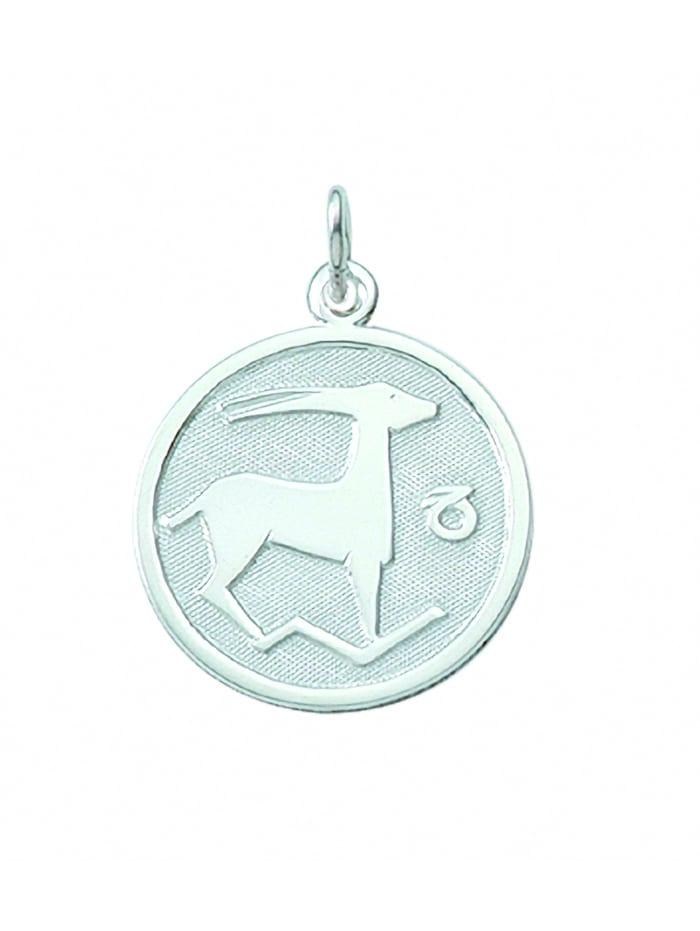 1001 Diamonds Damen & Herren Silberschmuck 925 Silber Sternzeichen Anhänger Steinbock Ø 15,7 mm, silber