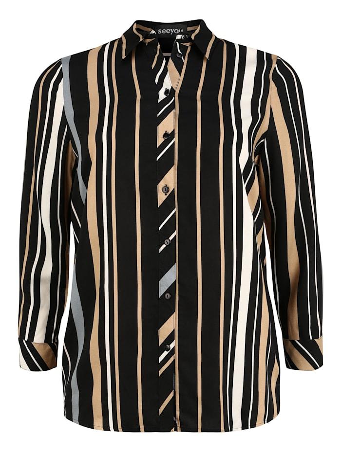 seeyou Bluse mit Streifen-Muster, caramel
