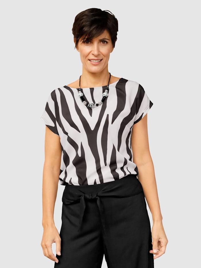 Paola Shirt mit bedrucktem Vorderteil, Schwarz/Weiß