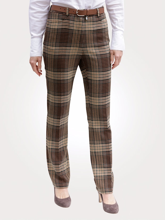 MONA Trousers in a check pattern, Brown/Beige/Light Blue