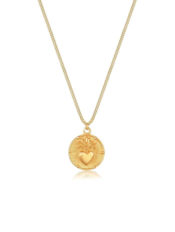 Elli Halskette Coin Herz Flamme Liebe Valentin Vintage 925 Silber, Gold