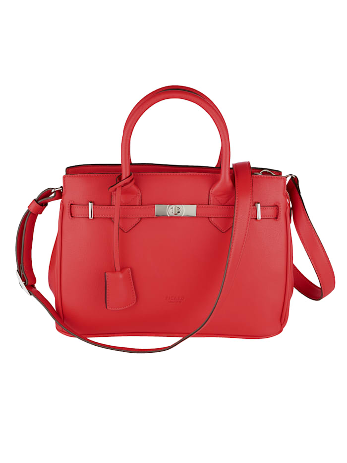 Picard Handbag with ribbon and twist clasp, Coral