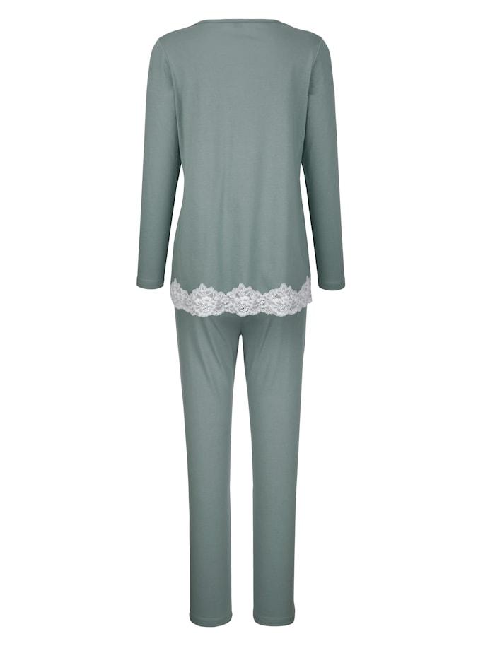 Pyjama met contrastkleurig kant