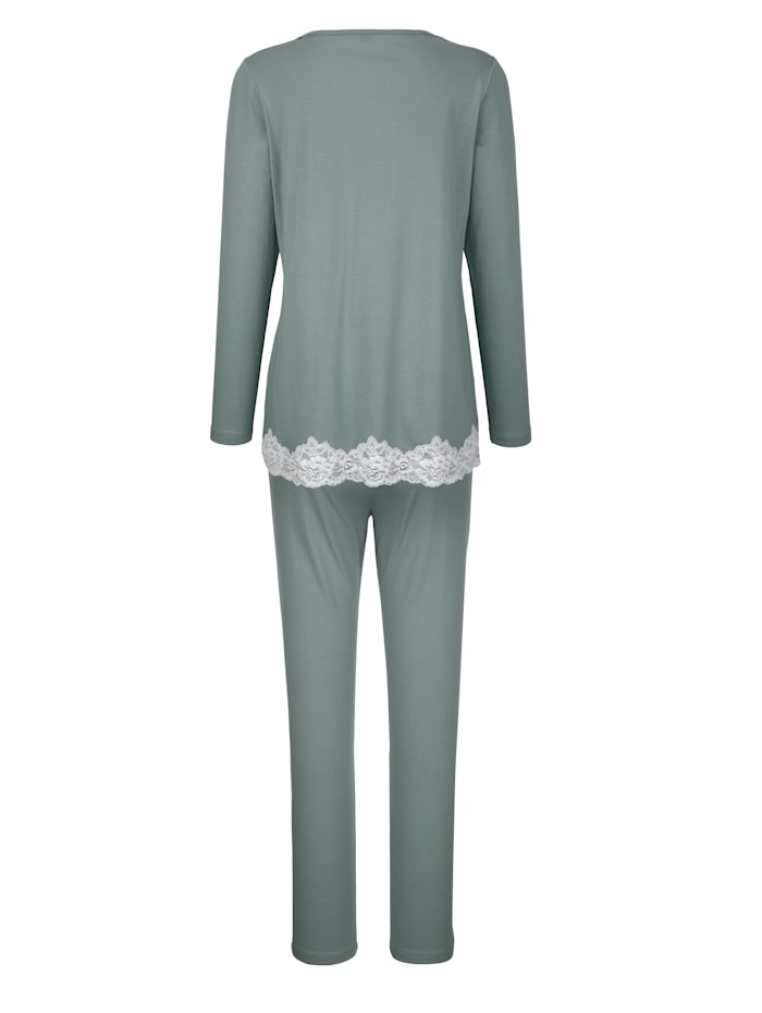 Schlafanzug mit kontrastfarbener Spitze