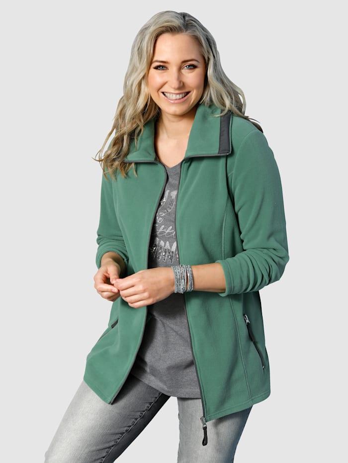 MIAMODA Fleecová bunda s ležatým límcem, Zelená