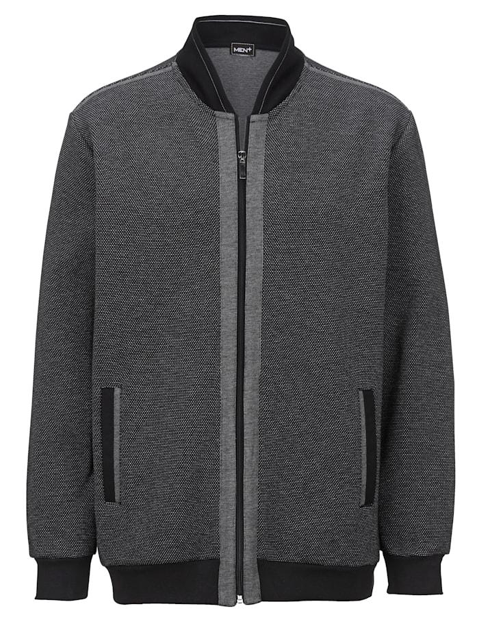 Men Plus Sweatshirtjacka i collegemodell, Svart/Grå