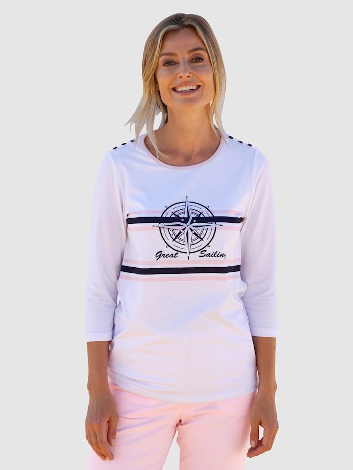 basically you Shirt mit maritimem Design, Weiß