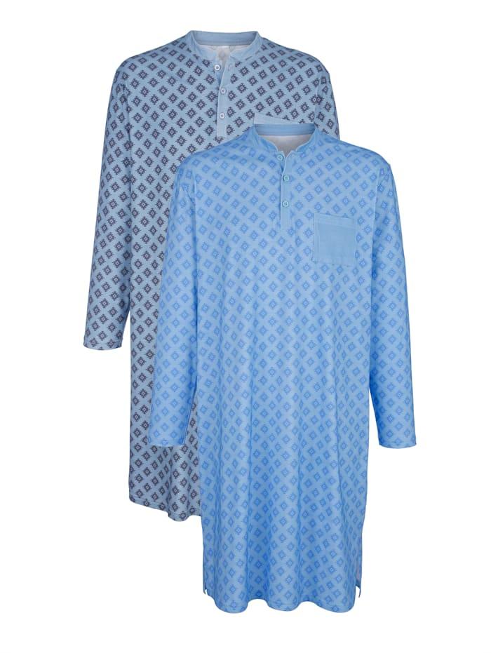 Roger Kent Nachthemden per 2 stuks, Lichtblauw/Grijs