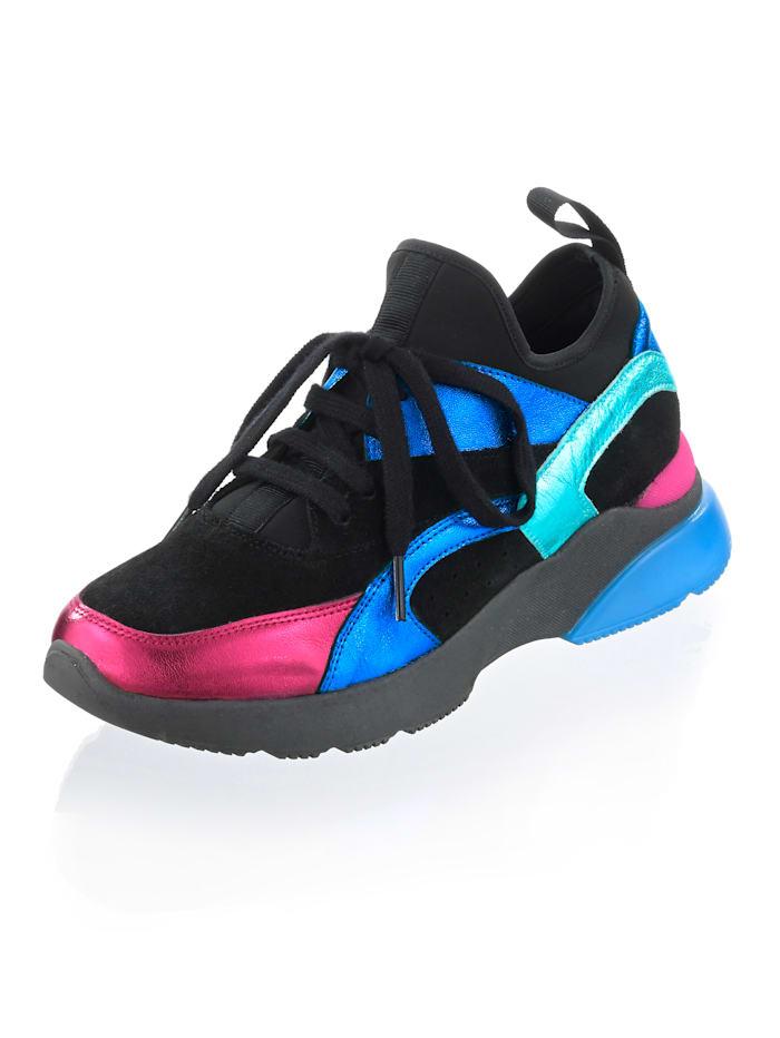 Alba Moda Sneaker van leer en elastisch materiaal, Zwart/Blauw/Pink