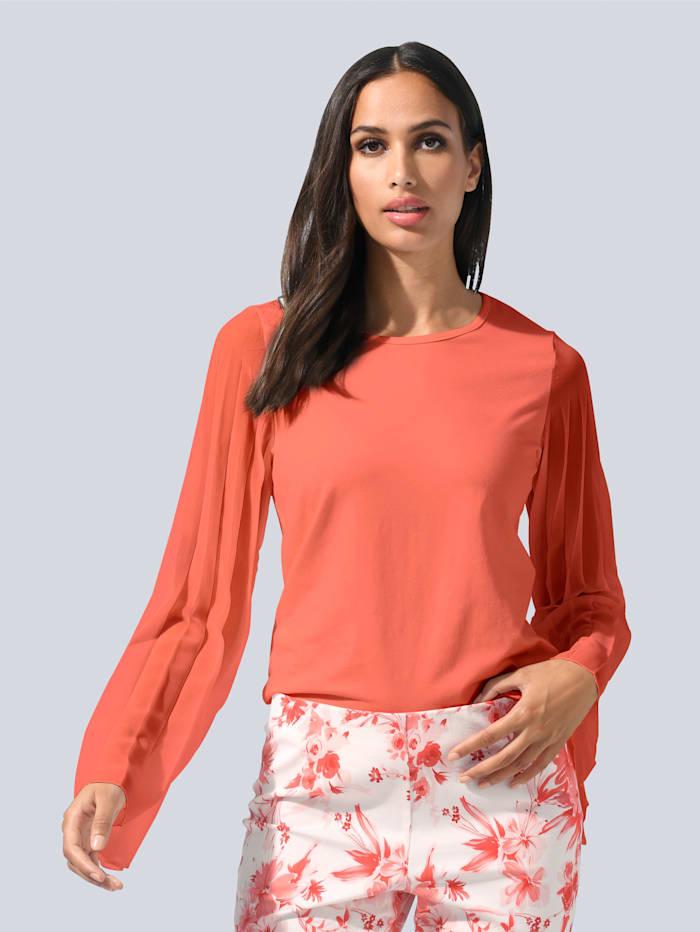 Alba Moda Tričko s plisovanými rukávmi zo šifónu, Koralová