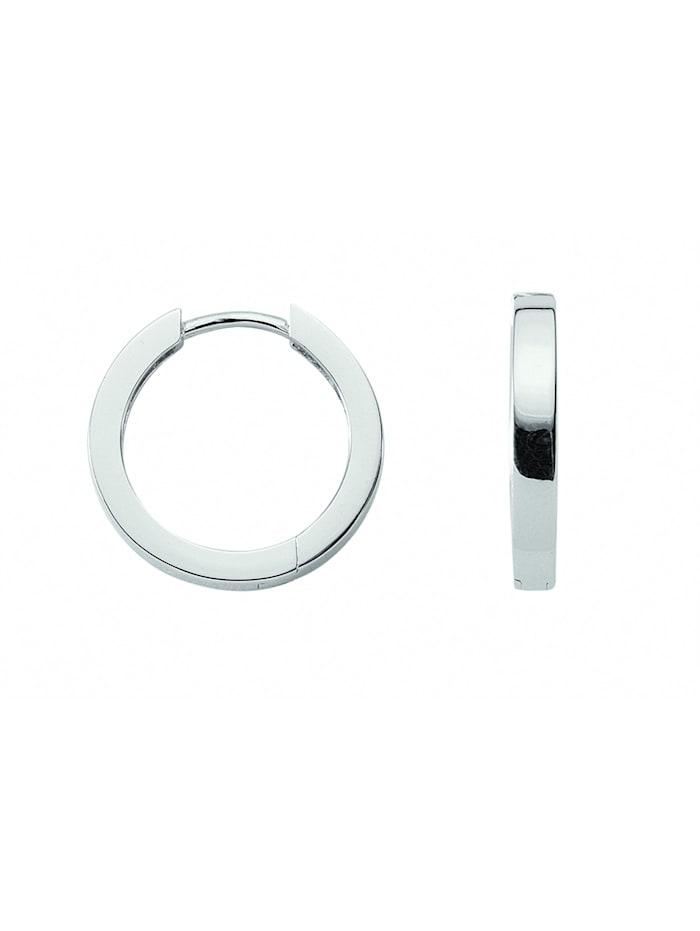 1001 Diamonds Damen Silberschmuck 925 Silber Ohrringe / Creolen Ø 11,4 mm, silber