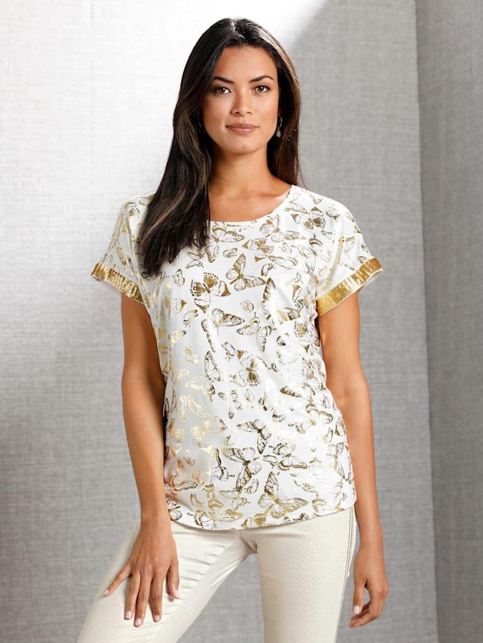 AMY VERMONT Shirt mit allover Schmetterlings-Print, Off-white/Goldfarben