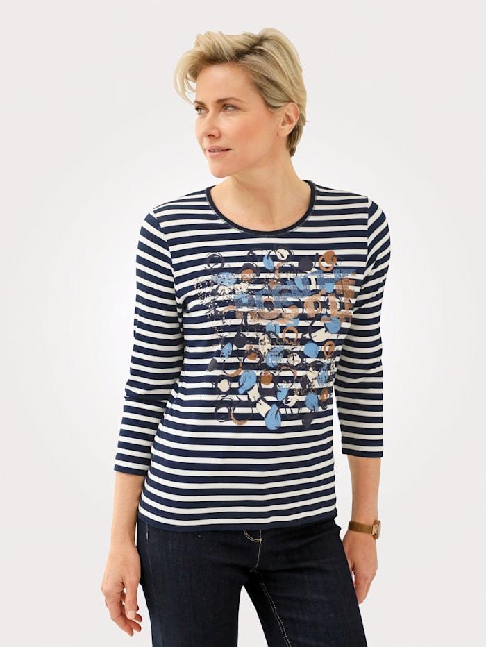 Rabe Shirt mit platziertem Druckmotiv, Blau/Weiß/Rot