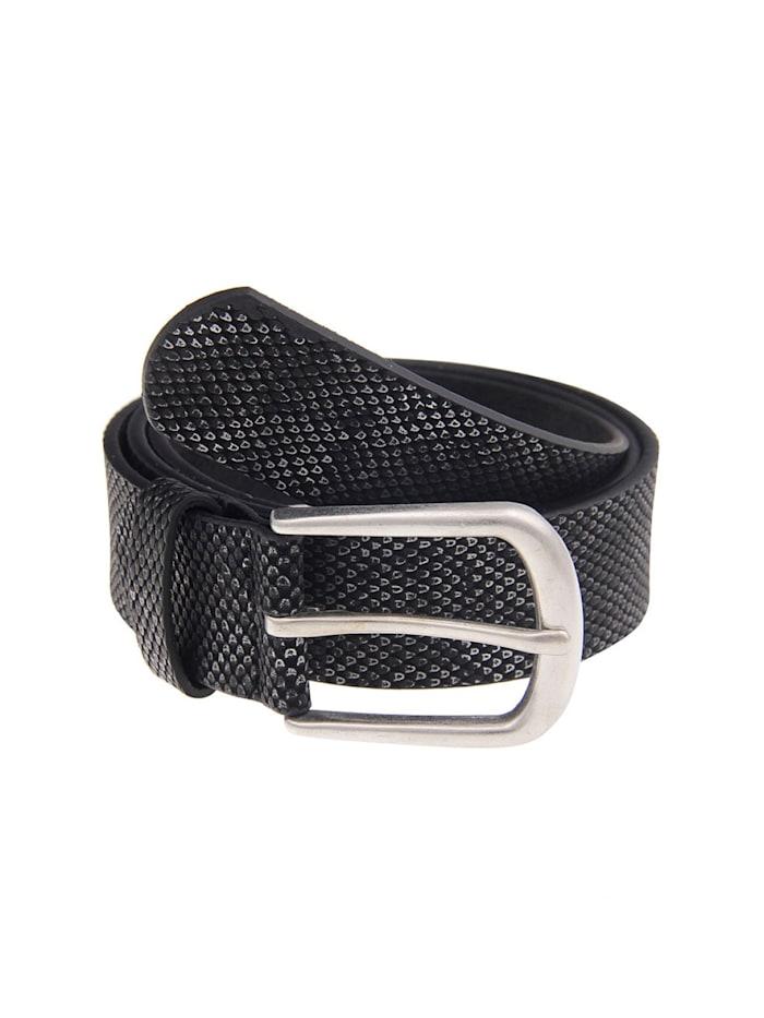 Leslii Gürtel mit schimmerndem Schlangen-Muster, schwarz-silber