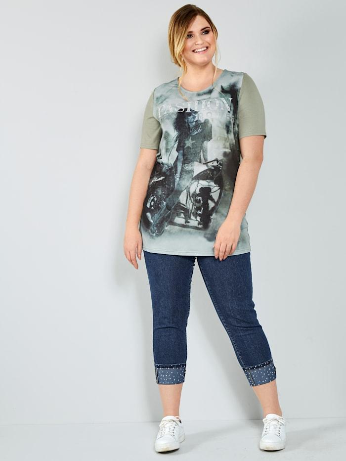 Jeans met omslag en glittersteentjes