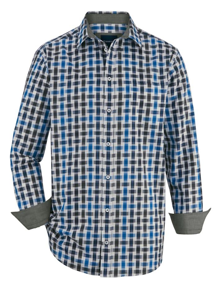 BABISTA Overhemd met bijzondere structuur, Blauw/Wit