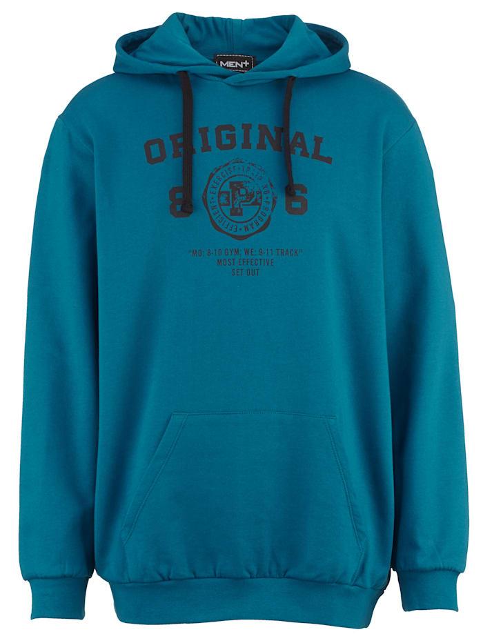 Men Plus Kapuzensweatshirt aus reiner Baumwolle, Petrol/Schwarz