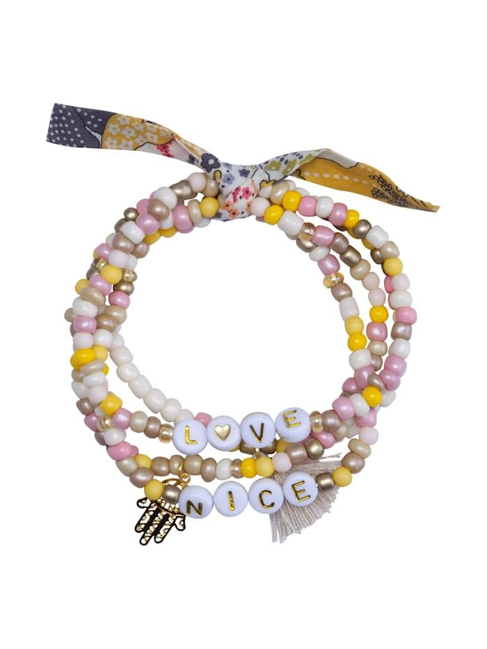 Codello Handgefertigtes Perlenarmband mit Mini-Quaste und Anker-Motiv, beige