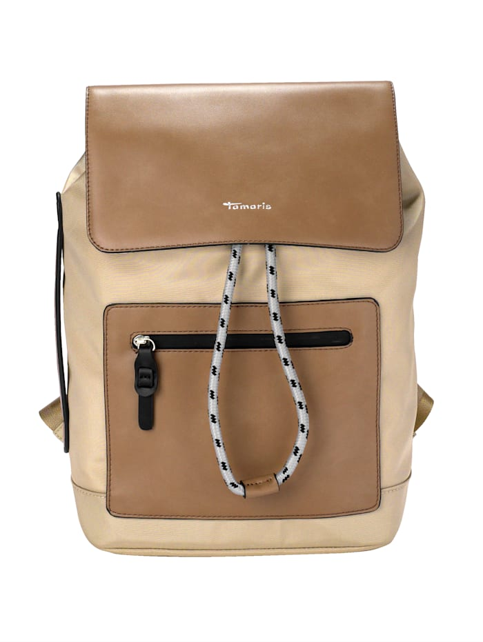 Tamaris Backpack with a front zip pocket, Beige/Sand