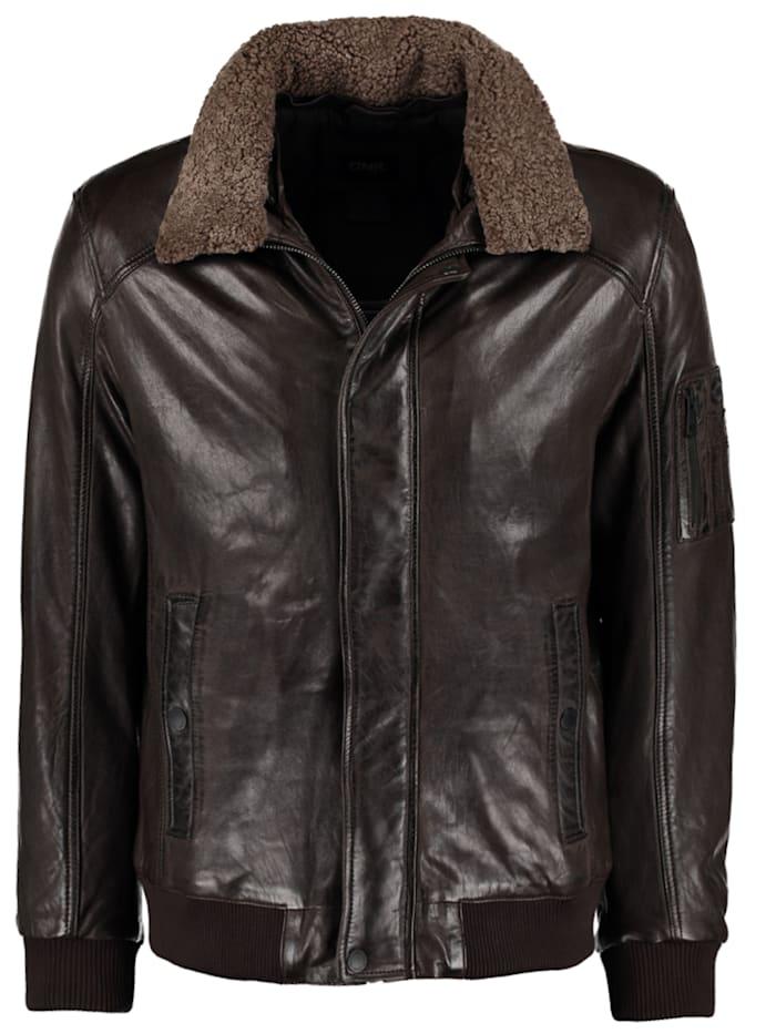 DNR Jackets Lederjacke mit Kontrastfutter und Reißverschluss, Brown