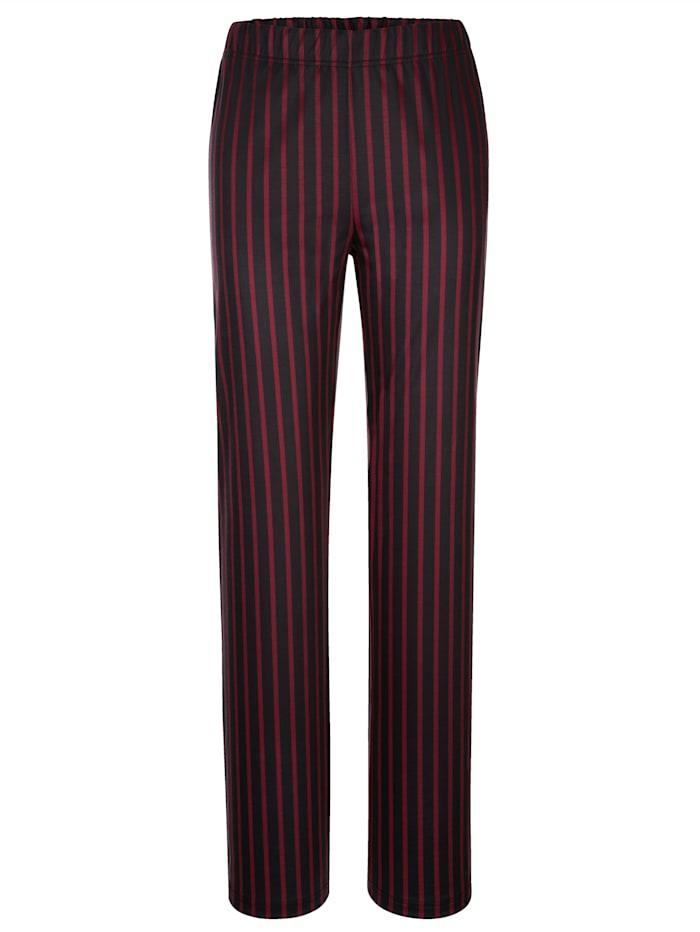 AMY VERMONT Jerseyhose mit Streifen, Schwarz/Bordeaux