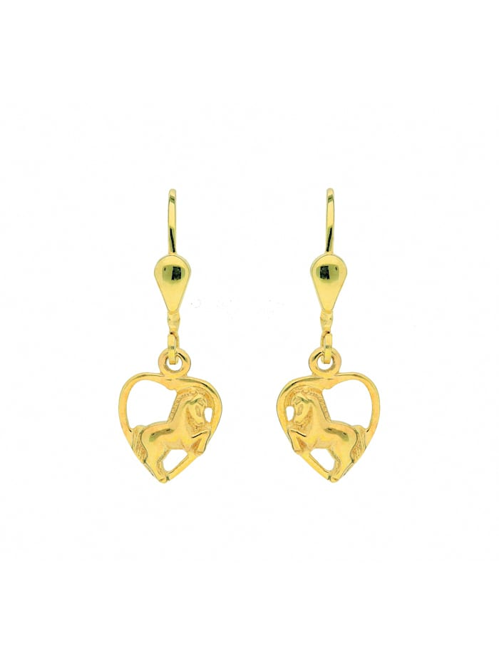1001 Diamonds Damen Goldschmuck 333 Gold Ohrringe / Ohrhänger Herz, gold