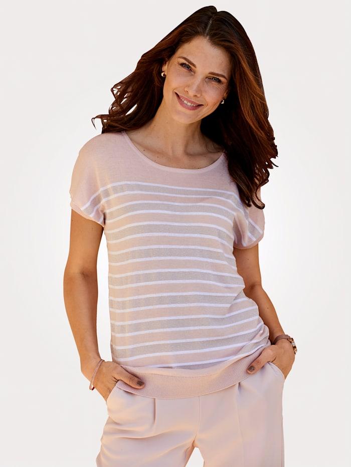 MONA Pullover aus Feinstrick mit Effektgarn, Rosé/Weiß