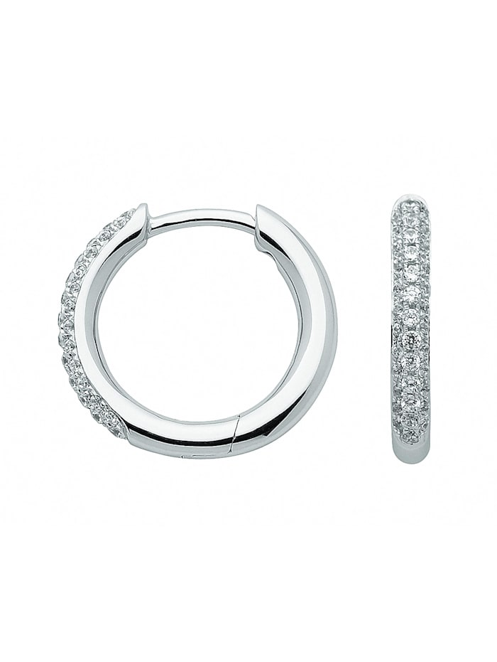 1001 Diamonds Damen Goldschmuck 333 Weißgold Ohrringe / Creolen mit Zirkonia Ø 15,1 mm, silber