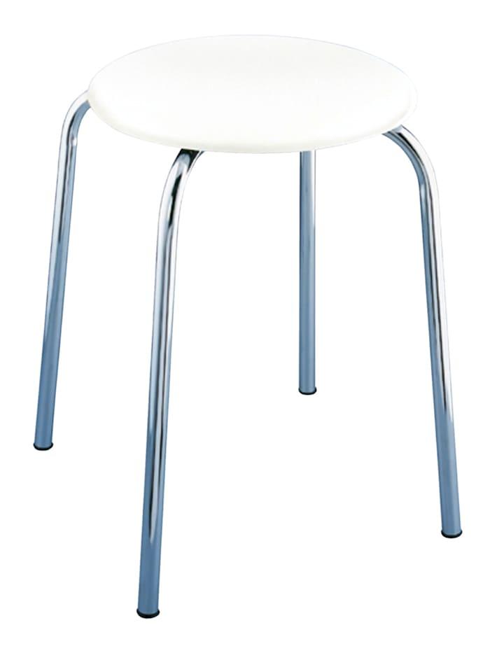 Wenko Exclusiv Badhocker Livorno, mit weißer Soft-Sitzfläche, Sitzfläche: Weiß, Gestell: Chrom