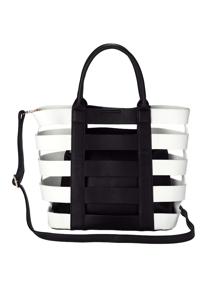 Collezione Alessandro 2-delige tassenset van hoogwaardig softmateriaal 2-delig, zwart/wit