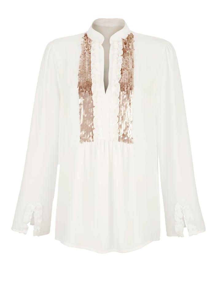 AMY VERMONT Bluse mit Rüschen und Pailetten, Off-white