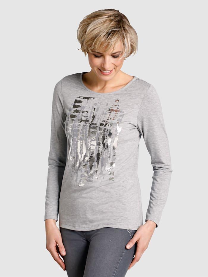 Dress In Shirt mit Druckdessin, Grau