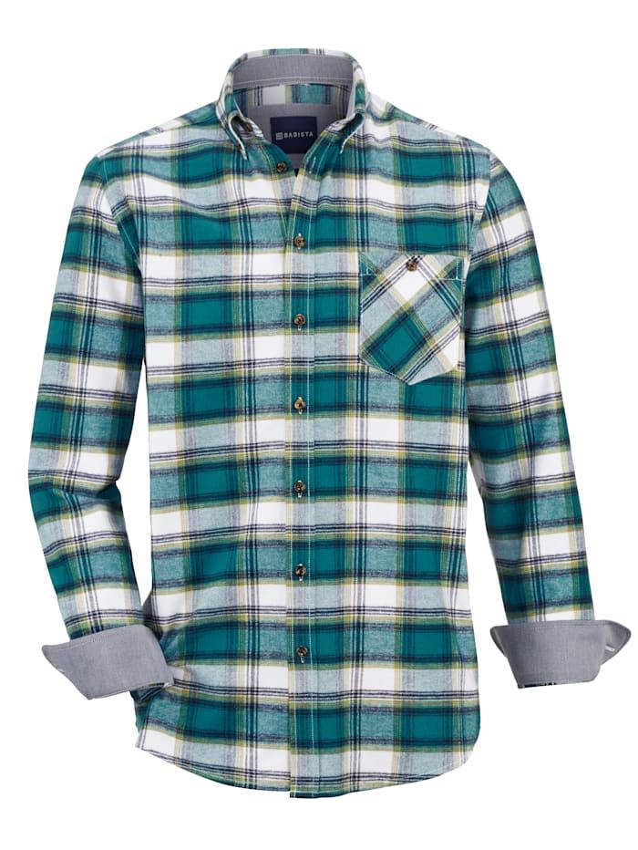 BABISTA Flanellhemd mit sportivem Button-Down-Kragen, Petrol/Weiß