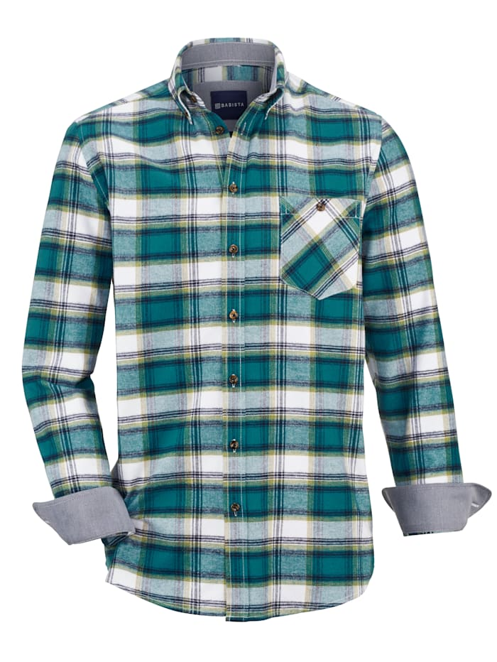 BABISTA Overhemd met button-downkraag, Petrol/Wit
