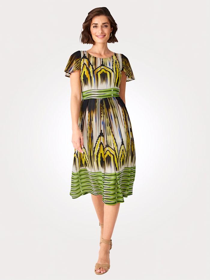 MONA Kleid mit modischem Ethno-Druck, Gelb/Grün/Braun