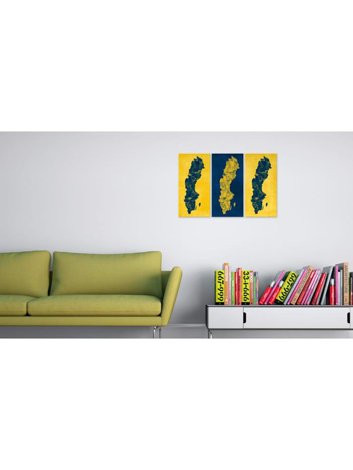 Wandbild Gemalte Landkarte von Schweden - Triptychon