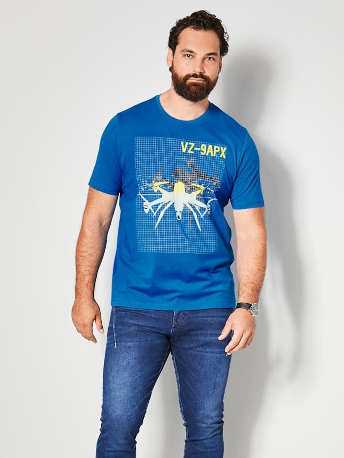 Men Plus T-shirt met print, Blauw