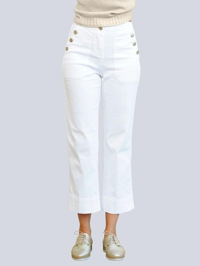Alba Moda Džínsy s dekoratívnymi gombíkmi, Prírodná biela