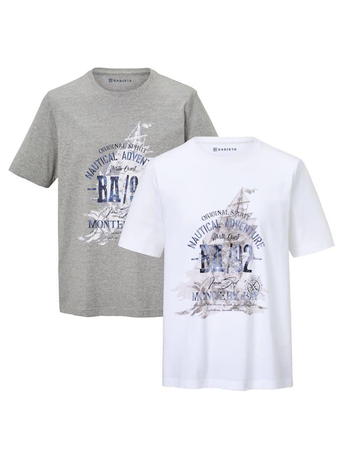 BABISTA T-Shirt 2er-Pack aus Single Jersey-Qualität, Weiß/Grau