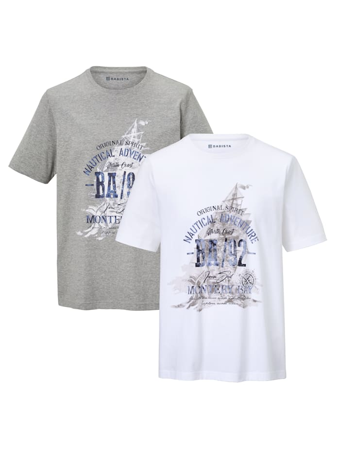 BABISTA T-shirts per 2 van single jersey, Wit/Grijs