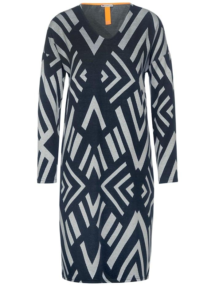 Street One Midi-Kleid mit Ikat Muster, dark blue