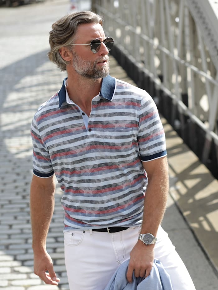 BABISTA Poloshirt met luxueus jacquardpatroon rondom, Blauw/Rood